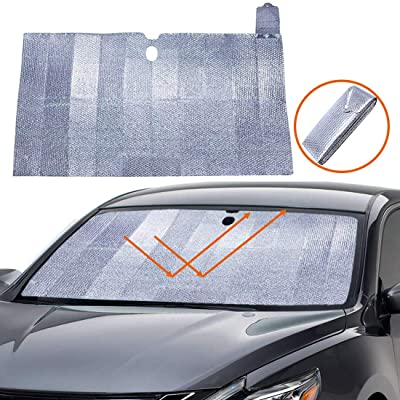 Big Hippo Windshield Sun Shade - Accordion Folding Car Sun Shade Blocks UV Rays Sun Visor Protector, Keeps Your Vehicle Cool-59 x 31.5 Inch: Automotive