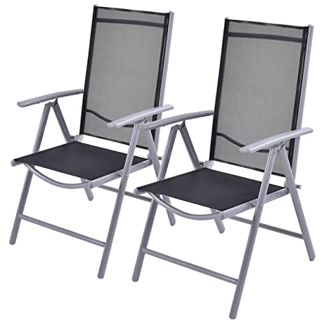Amazon.com : Giantex Set of 2 Patio Folding Chairs Adjustable ...