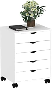 YITAHOME 5-Drawer Chest, Wood File Cabinet Storage Dresser Cabinet with Wheels, Dresser Organizer Cabinet for Bedroom, Living Room, Closet, White