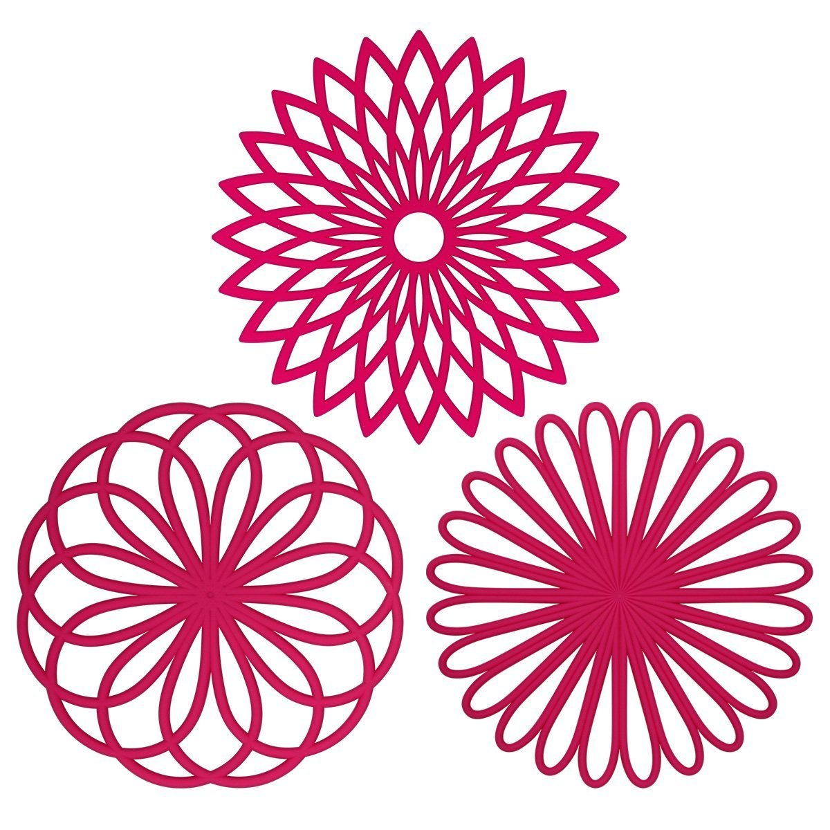 ME.FAN 3 Set Silicone MultiUse Flower Trivet Mat  Premium Quality Insulated Flexible Durable Non Slip Coasters Hot Pads Fuscia