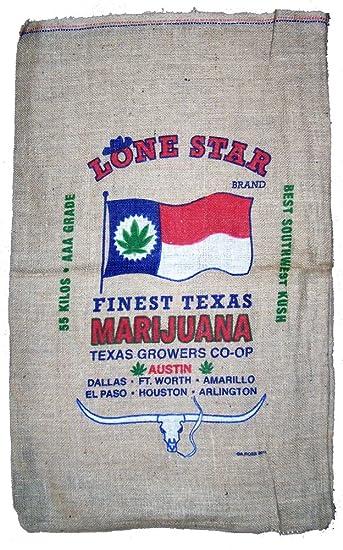 Brand New Novelty TEXAS LONE STAR STRAIN Storage Or Decor Marijuana Burlap  Bag