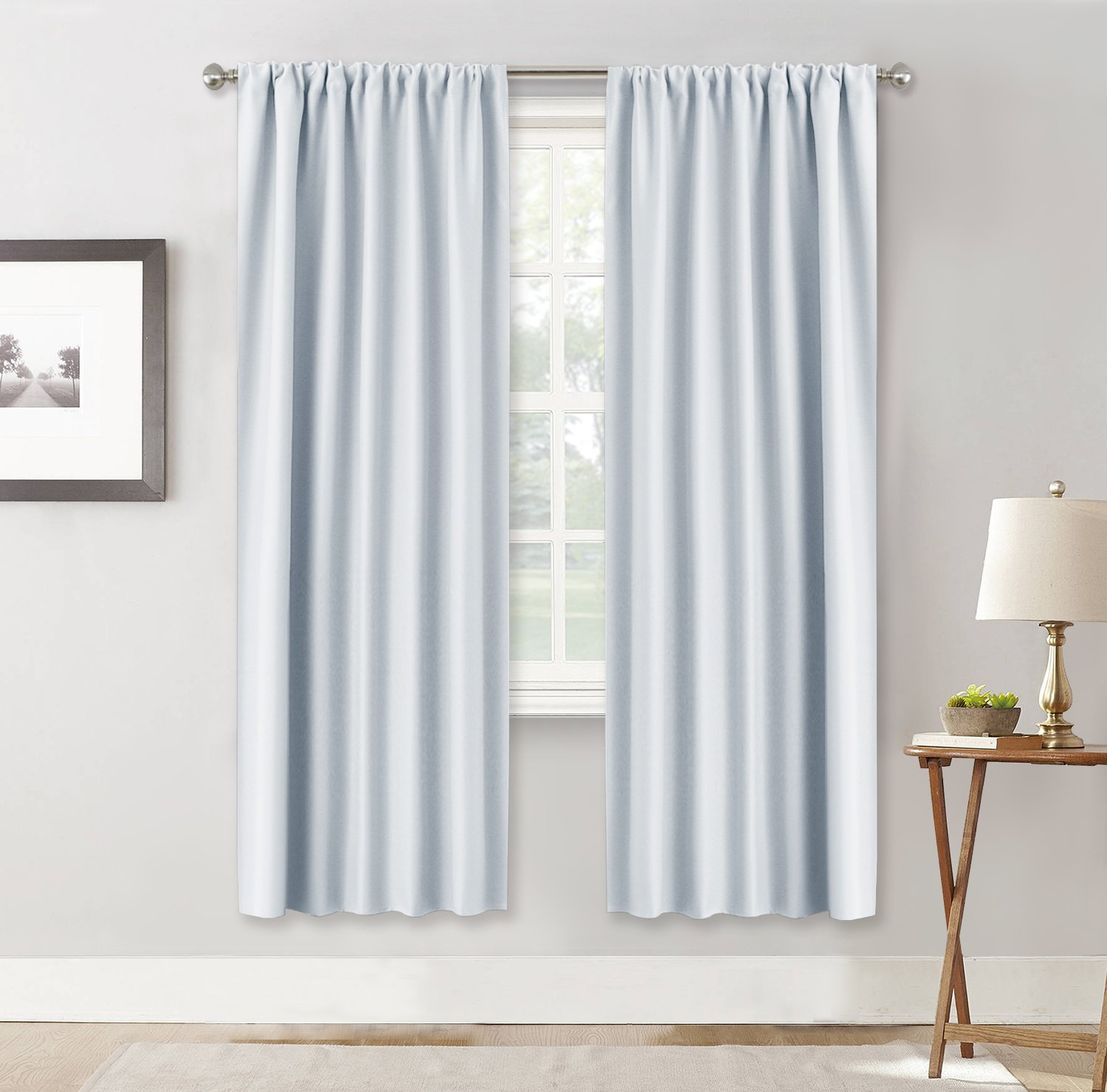 RYB HOME Room Darkening Thermal Blackout Curtains Decoration (Wide 42 by Long 72, Greyish White, 1 Pair) Window Draperies Sunlight Shades Panels Rod Pocket for Kid's Room Dining Room