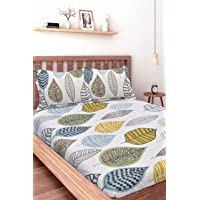 Ahmedabad Cotton Comfort 144 TC Cotton Bedsheet with Pillow Cover - Multicolour