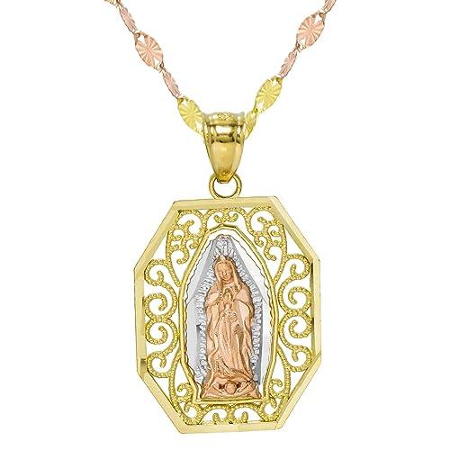 b6c246deb19a Pyramid Jewelry Collar con Colgante de octágono de la Virgen María ...
