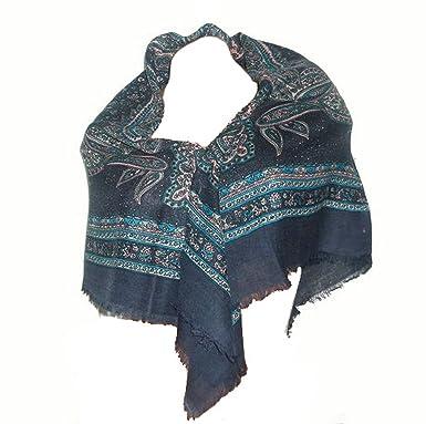 91a2f3a2e4ec itendance Foulard carré Etole écharpe chale femme 100% laine bleu marine  gris - idée cadeau