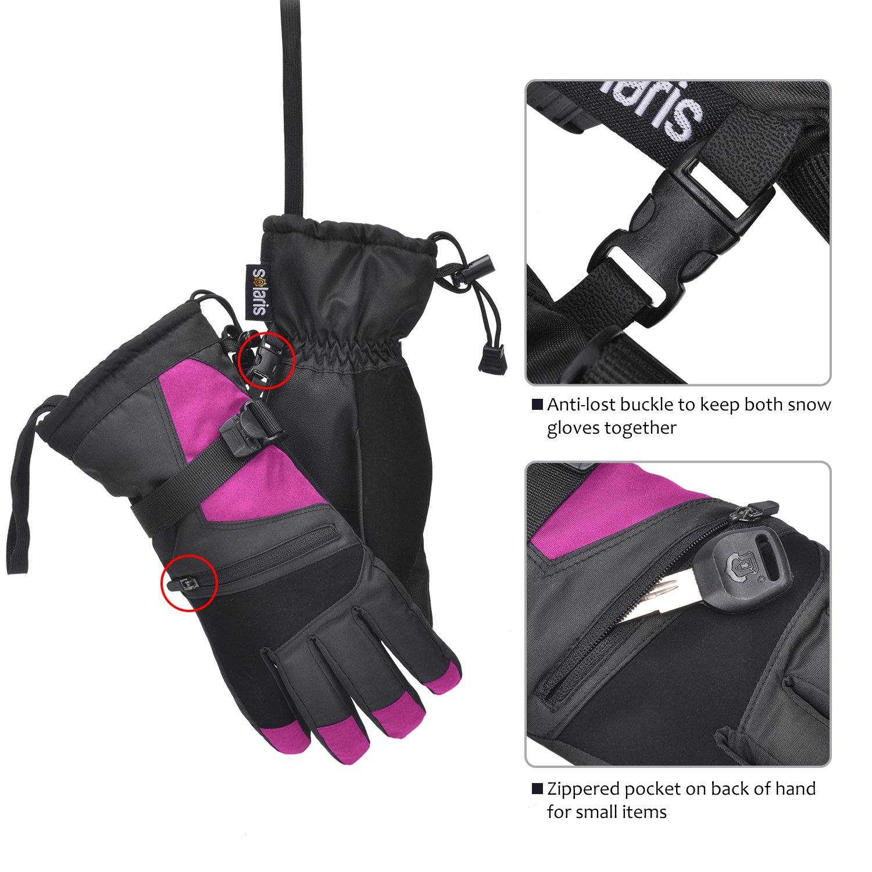 Womens Winter Waterproof Ski Gloves The Warmest 3M Insulation Outdoor Windproof Snowboarding Mittens Pink