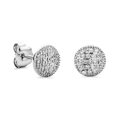 0bd602c42949 Orovi pendientes de mujer presión 0.11 Quilates diamantes en oro blanco 9  kilates ley 375  Amazon.es  Joyería