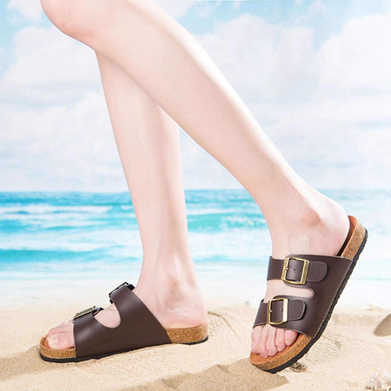 K/&shop Men Flip Flop Buckle Cork Pu Leather Beach Summer Slipper Men Sandals,Brown,8