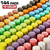 144 Pack 18 Colors Jumbo Sidewalk Chalk Set, Washable Art Play For Kid and Adult, Paint on School Classroom Chalkboard, Kitchen, Office Blackboard, Playground, Outdoor, Gift for Birthday Party