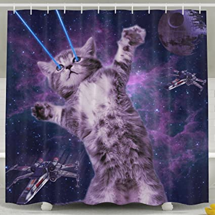 Laser Cat Space 100 Polyester Shower Curtain Waterproof Fabric Bathroom Decor 60