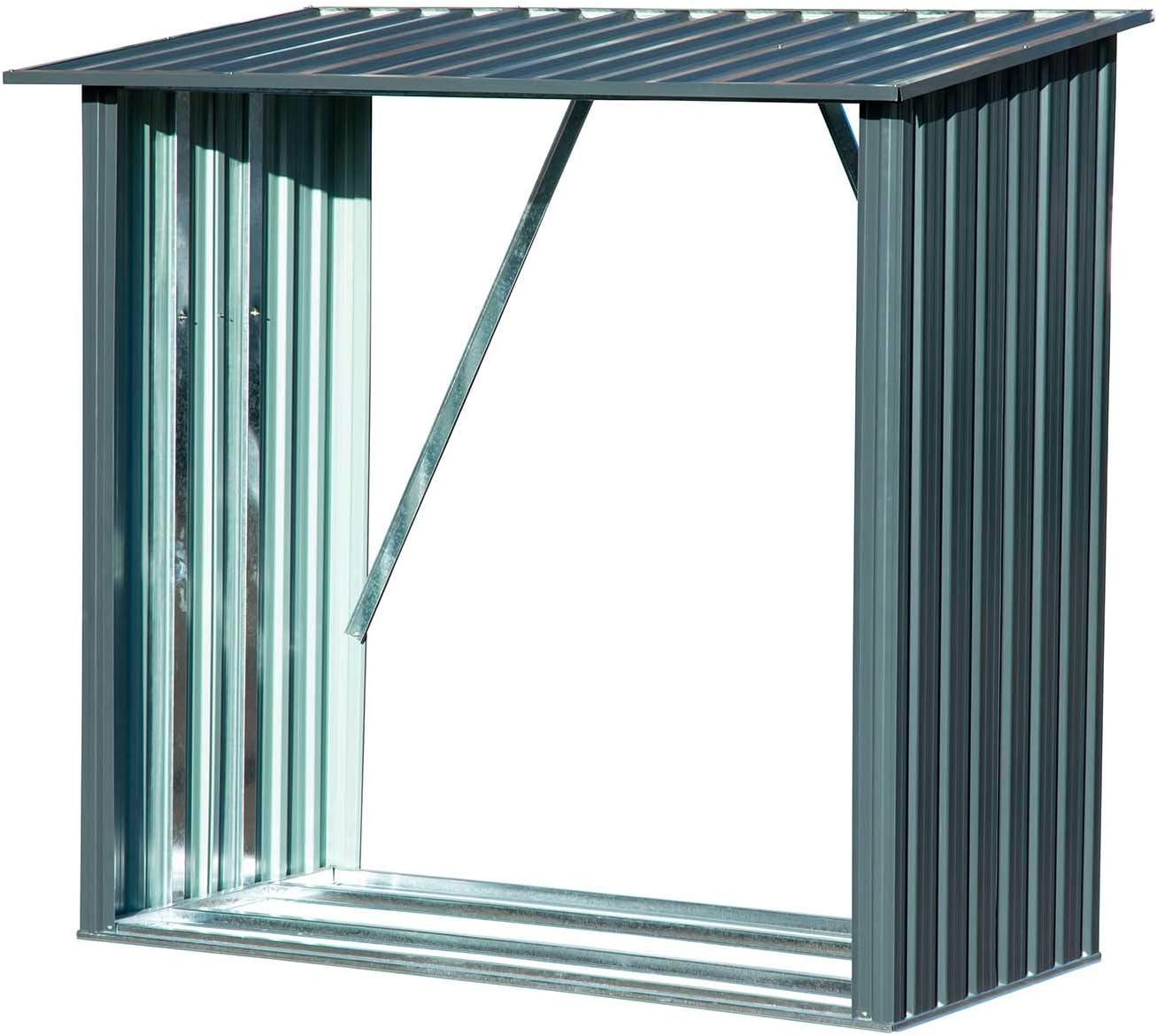 Leñero metálico Capacidad de Almacenamiento Aprox. 1,5 m³: Amazon.es: Jardín