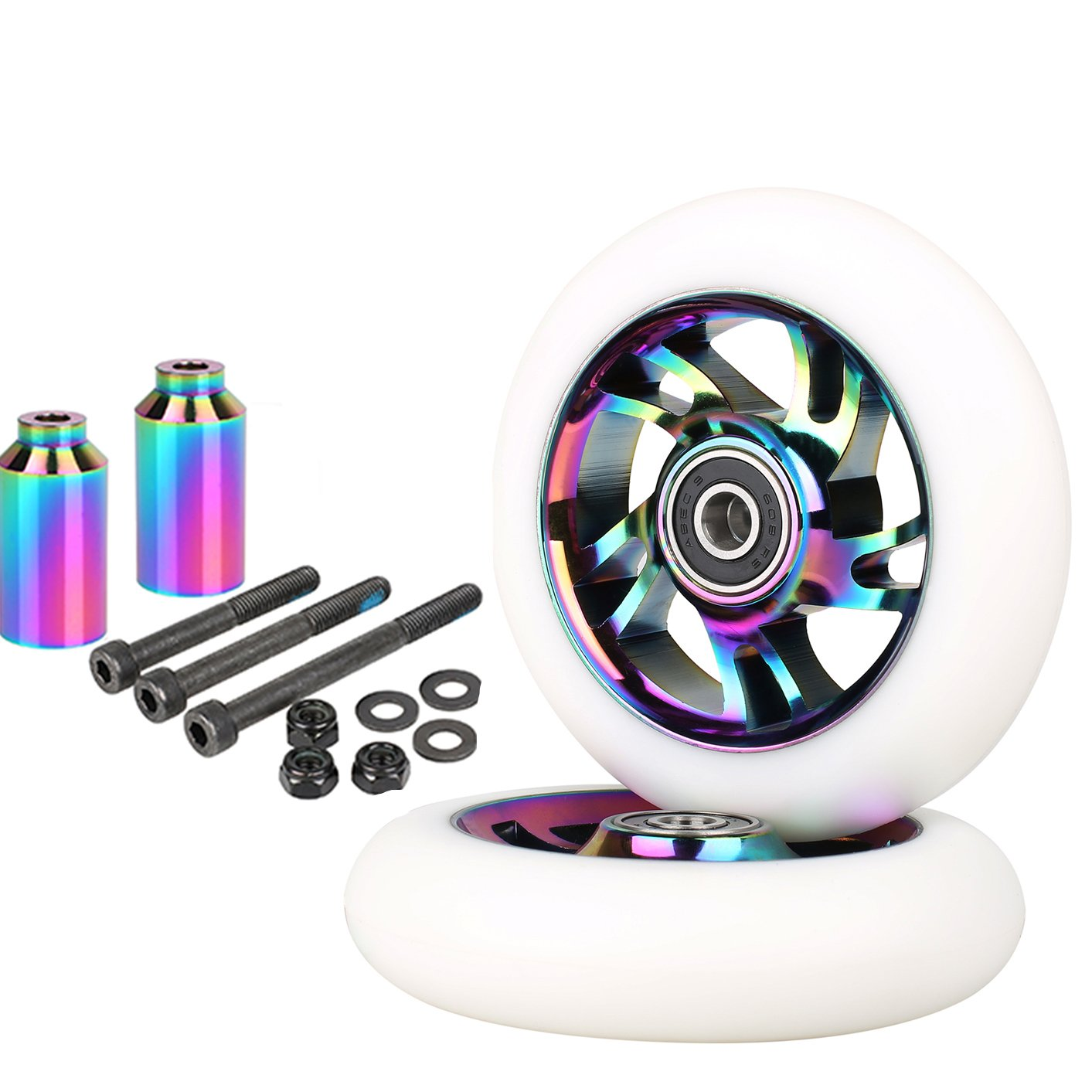 Kutrick Neo Chrome Complete 110mm 2pcs Pro Scooter Wheels with Complete 2pcs Neo Pro Stunt Scooter Pegs Kit