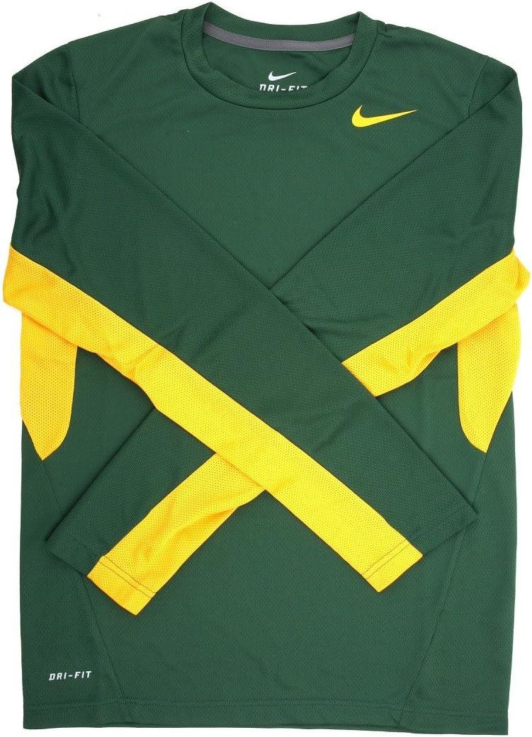 Nike Mens Vapor Green//Orange Dri-FIT Long Sleeve Training Shirt 2X Large