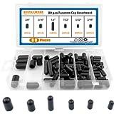 Vacuum Cap Assortment,Black Rubber, from 5/32' to 3/8' Sizes,Hose Caps Kit for Carburetor,Manifold (80 Pieces Kit)