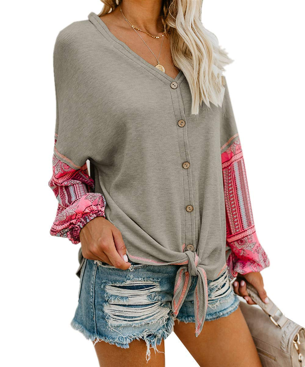 Unidear Womens Tie Front Henley V Neck Button Down Knit Tunic Blouse Boho Print Long Sleeve Thermal Shirt Tops #2Gray S