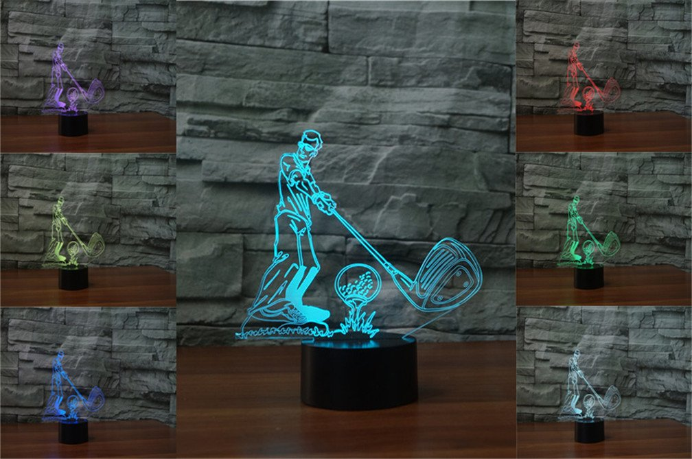 3D Golf Player Desk Lamp 7 Colors Changing Touch Switch LED Night Light with USB Powered for Home/Office Decorations/Gifts by LiCheng Bridal