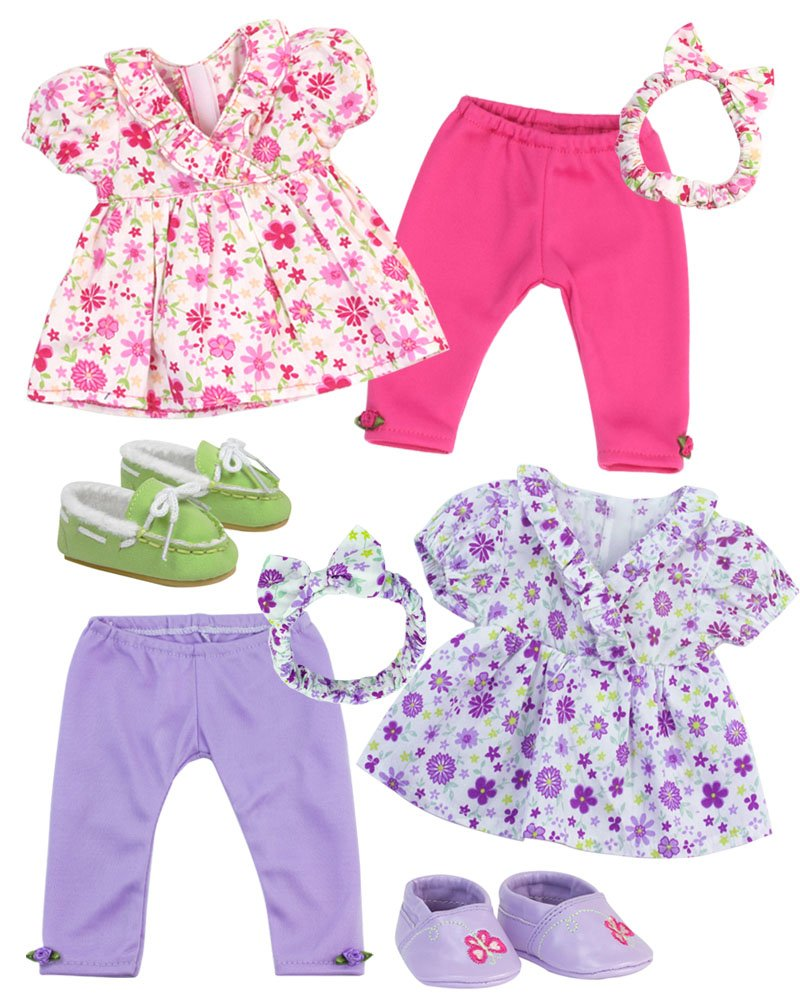 Sophia's Baby 15 Doll Twin Set with Two Complete Outfits of Floral Print Blouse, Leggings, Headband and Shoes for Two Sophia' s