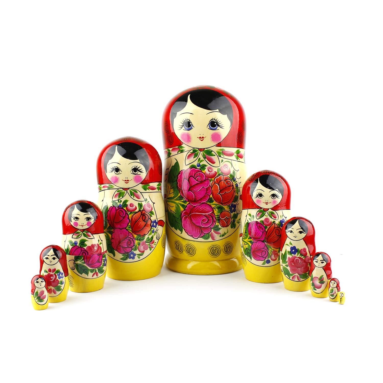 Heka Naturals Matryoshka Russian Nesting Dolls Semenov Classic Babushka Hand Made in Russia 4 pieces 9 cm Red Top Wooden Gift Toy rus-0016