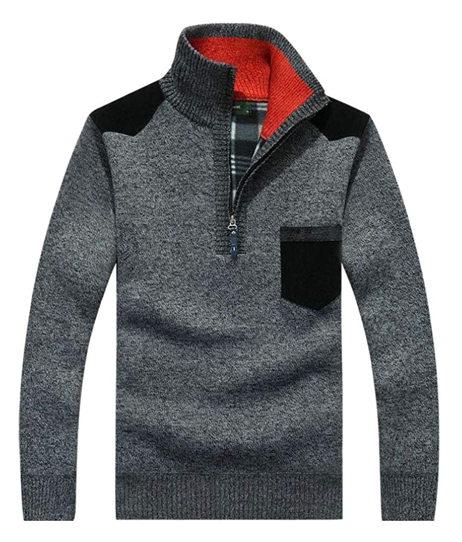 ouxiuli Mens Casual Slim Fit Pullover Sweaters Mock Neck Zip up Knit Sweater