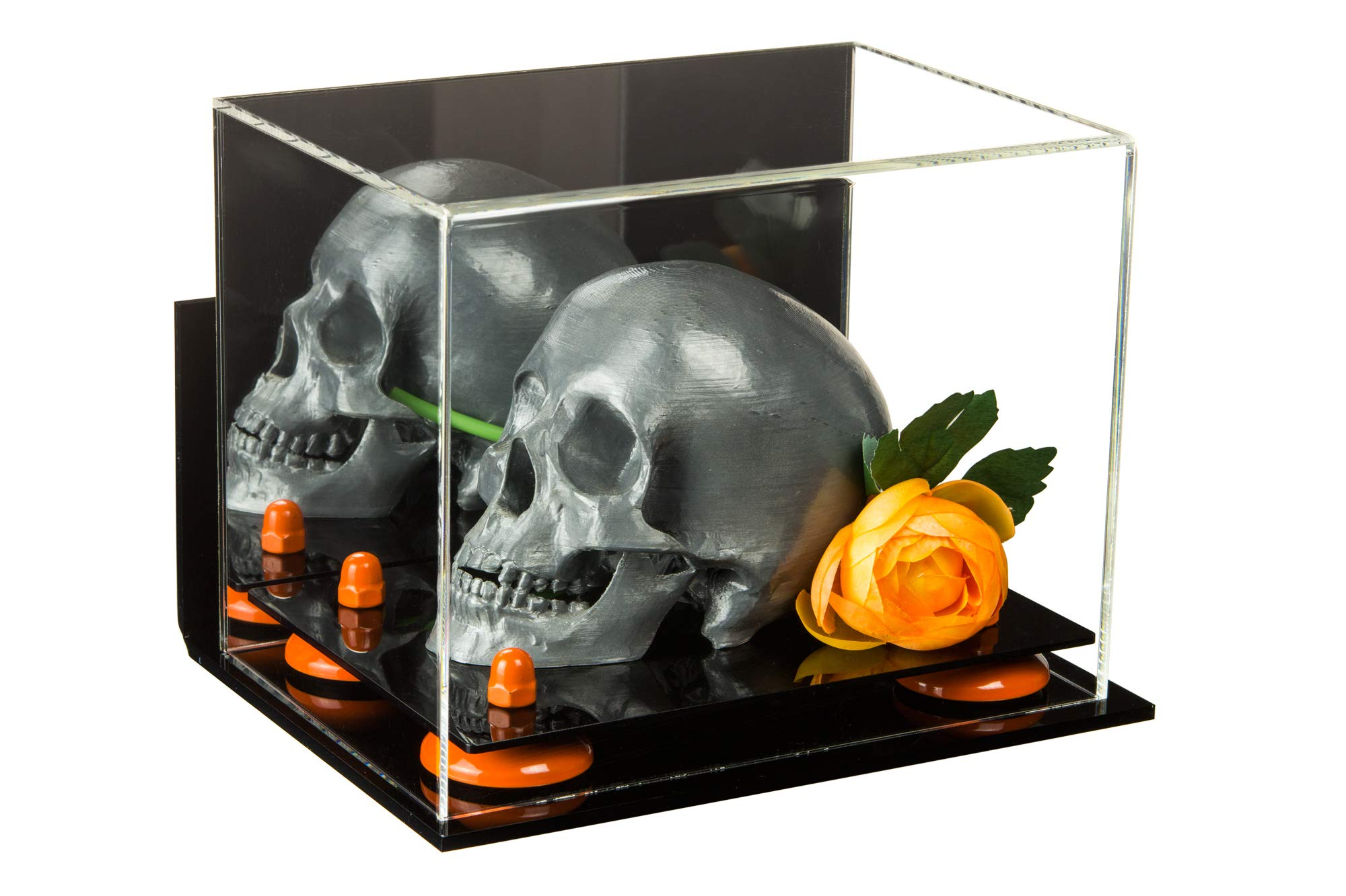 Versatile Deluxe Acrylic Display Case - Small Rectangle Box with Mirror, Wall Mount and Orange Risers 8.25'' x 5.5'' x 6'' (A003-OR)
