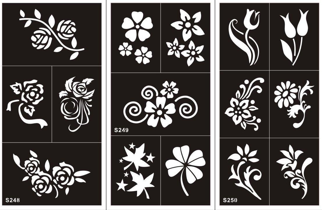 10 Hojas Plantillas de Mehndi Set Flowers tatuaje Stencils autoadhesivo - desechable plantillas tatuajes Tie Set Blumig