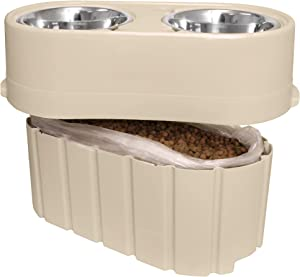 "Store-N-Feed Adjustable Raised Dog Bowl, Dog Feeder & Dog Food Storage Containers - Large Dog Bowl Stand Adjusts from 8"" to 12"" (Dog Food Container, Unique Dog Water Bowl Dispenser and Dog Food Bowl)"