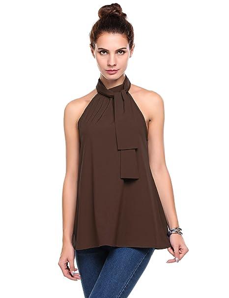 6f7b7cd8a1344 ThinIce Women Summer Sleeveless Office Blouse Halter Tie Back A Line Tank  Shirt