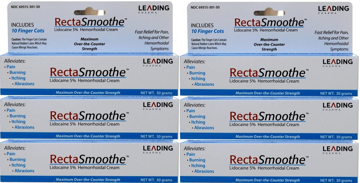 RectaSmoothe Lidocaine 5% Hemorrhoidal Anesthetic Cream, Fast Pain Relief for Hemorrhoids and Other Anorectal Disorders 1 oz. Per Tube PACK of 6