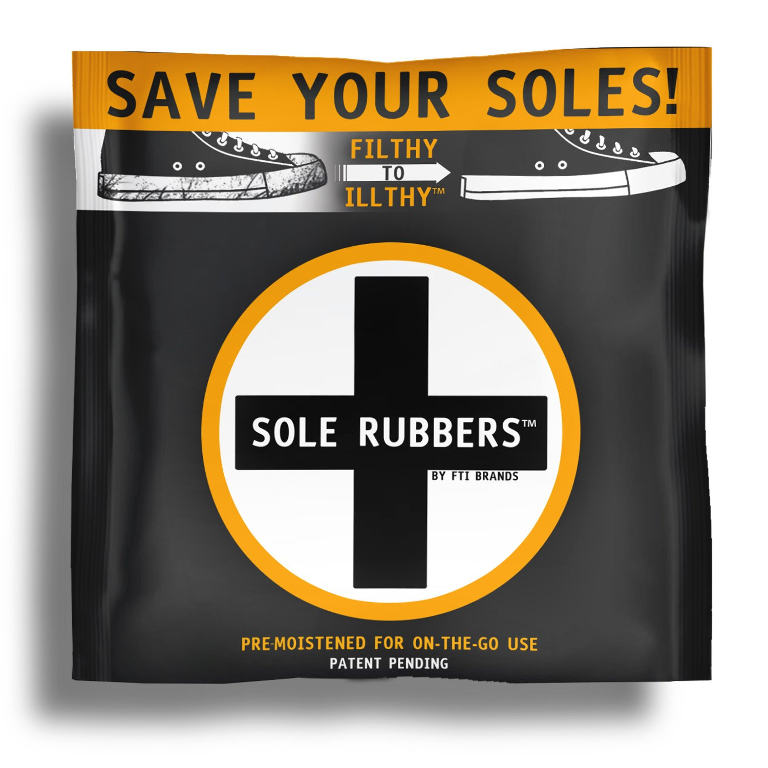 Sole Rubbers Instant Sole and Sneaker Cleaner Pre-Moistened Sponge (3-Pack) FTI Brands 1001
