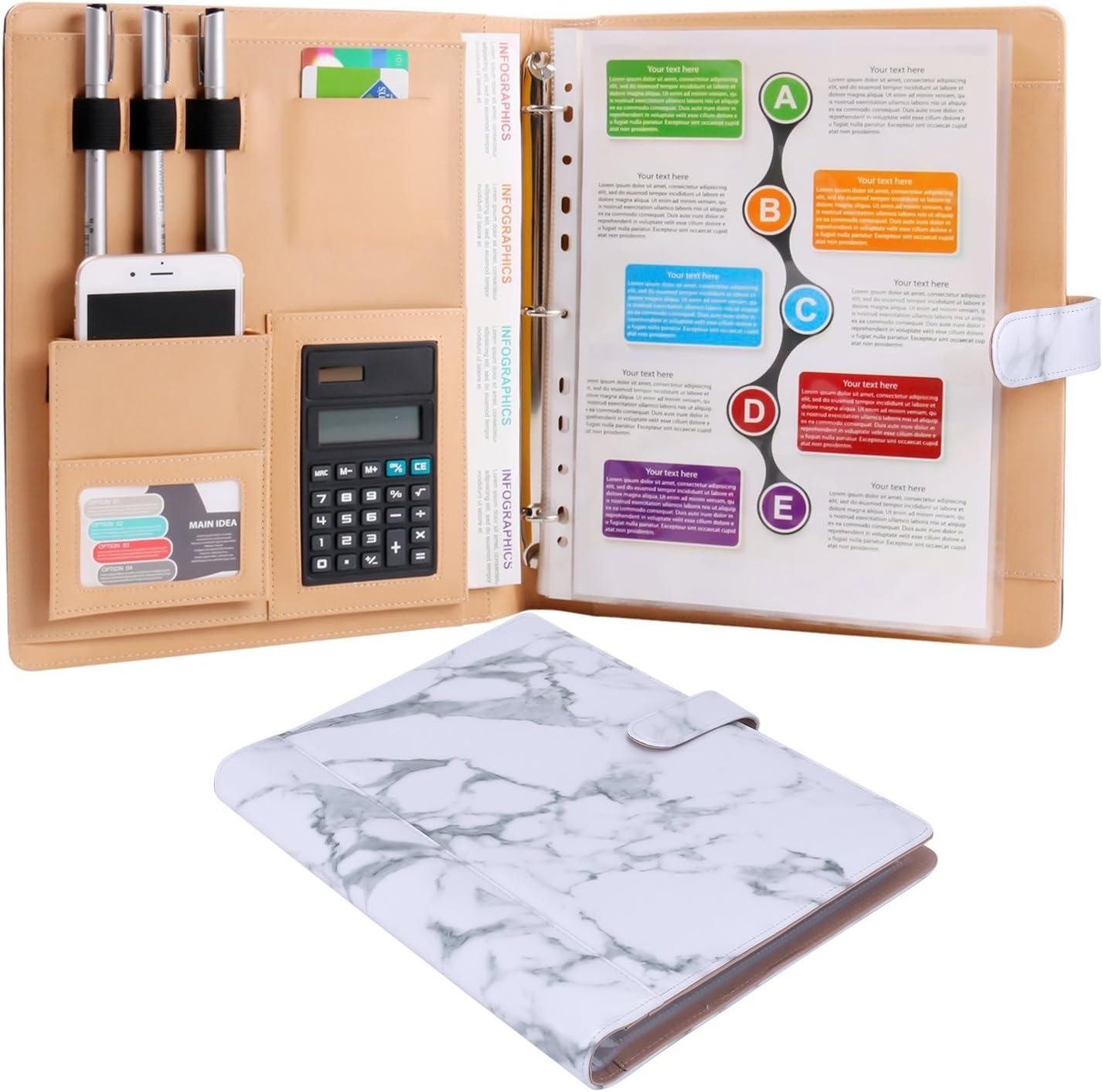 Z PLINRISE Plinrise High Grade Multifunction Letter Size Padfolio/Resume Portfolio Folder-Document Organizer/Business Card Holder with Calculator and 8 File Pockets, White Marbling