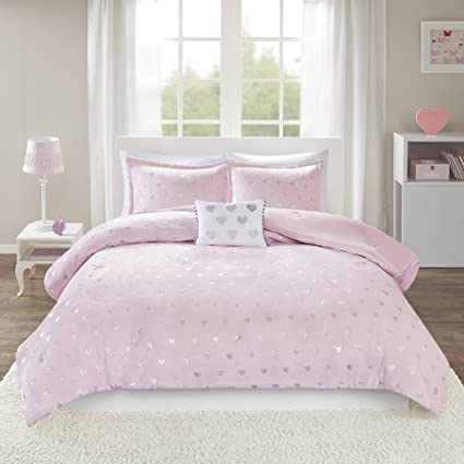165ae299335b7 Mi-Zone Rosalie Metallic Printed Plush Comforter Set, Full/Queen,  Pink/Silver
