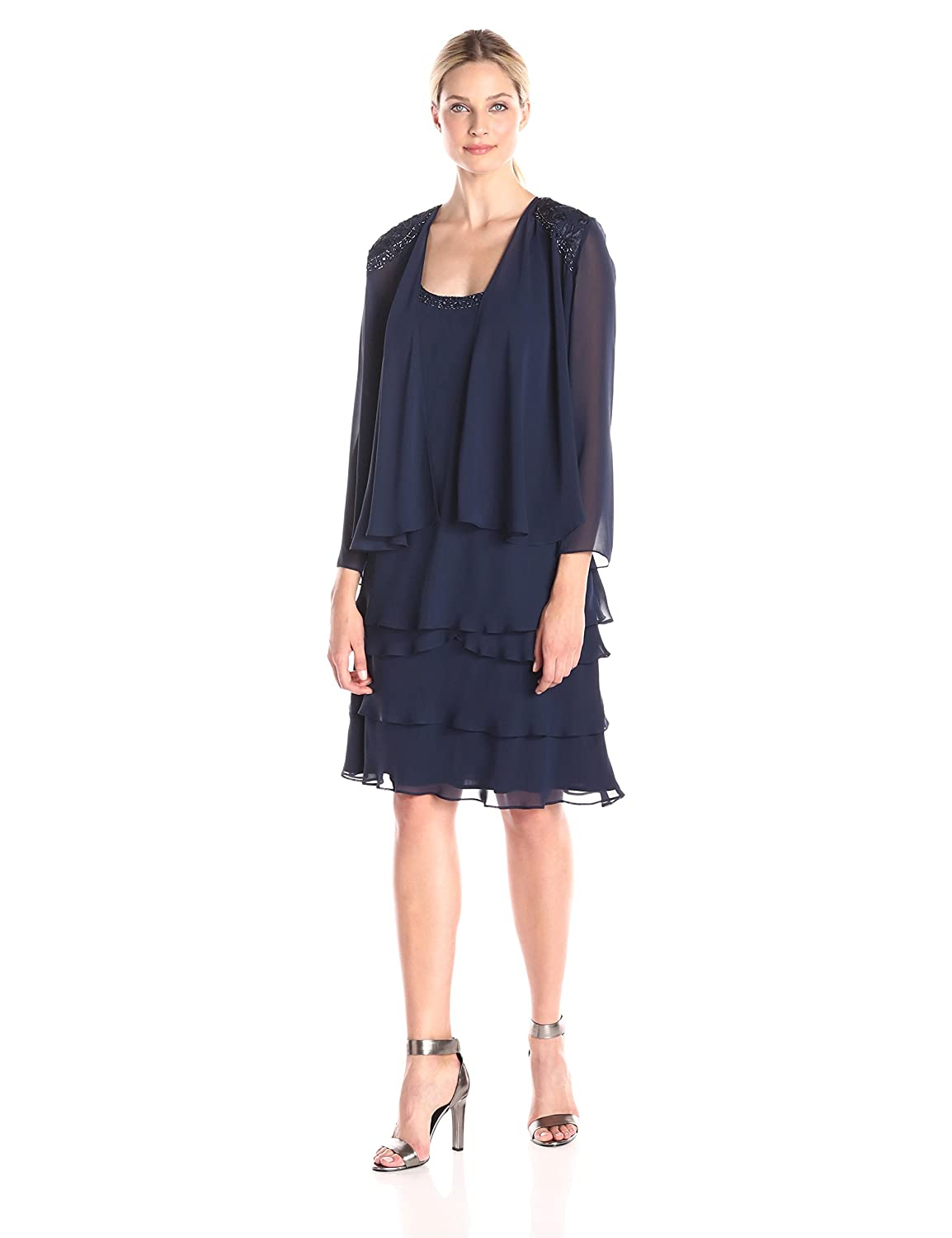 S.L. Fashions Women's Embellished Tiered Dress with Jacket S.L. Fashions Dresses 122372