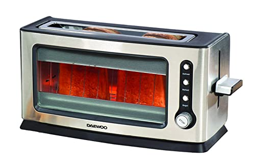 Daewoo 900W Transparent Glass Kitchen Toaster with Removable Tray, Auto-Shut off, 7 Heat Levels & Defrost Function - Silver