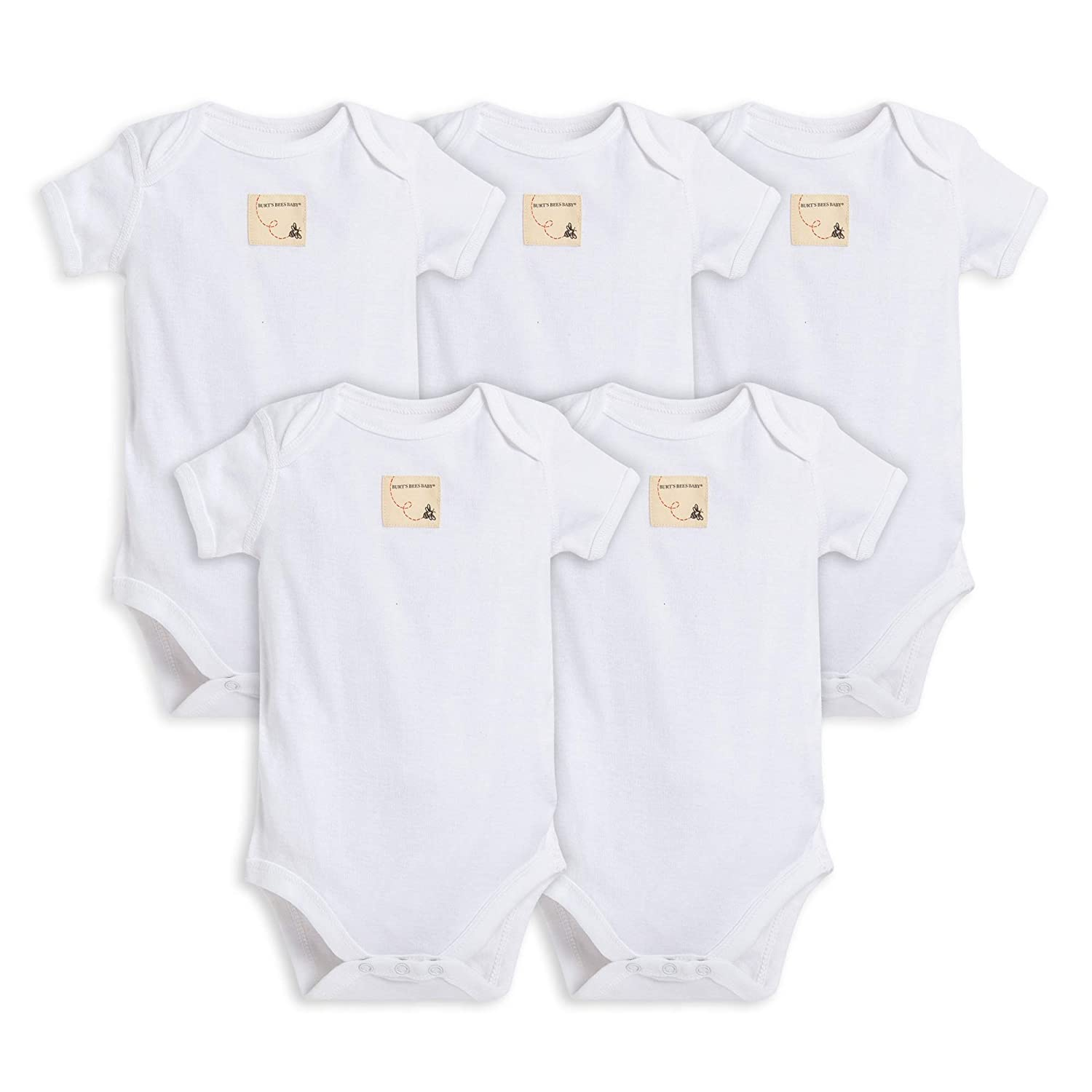 Burt's Bees Baby - Unisex Baby Bodysuits, 5-Pack Long & Short-Sleeve One-Piece Bodysuits, Organic Cotton