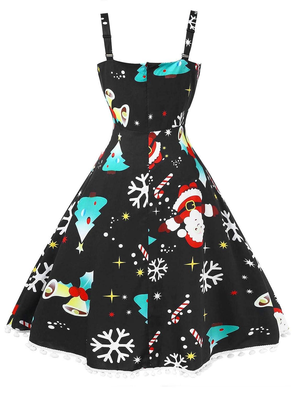 BeautyGal Women\'s Vintage Christmas Dress Plus Size Pompom Ugly Xmas ...
