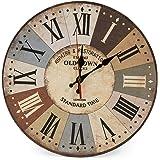LOHAS Home 30cm Orologio da parete, 12in Vintage Colorful Francia Parigi Stile francese del paese toscano di numeri arabi design silenzioso Orologio da parete in legno Home Decor (Città vecchia)