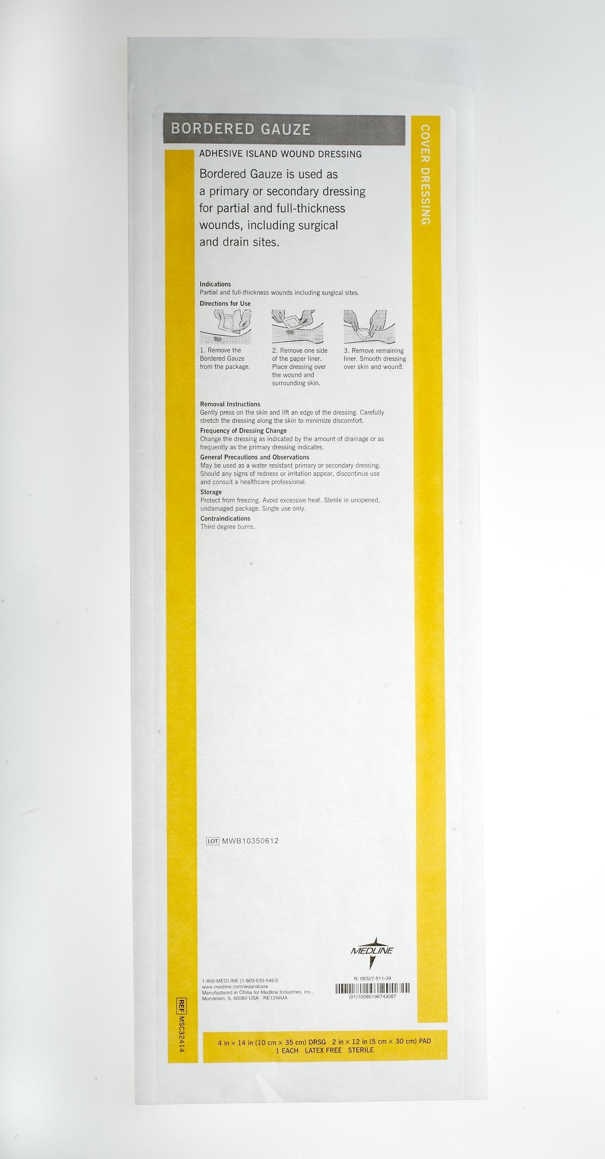 Medline MSC32414Z Sterile Bordered Gauze, 4'' x 14'' (Pack of 15) by Medline