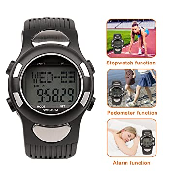 inkint Medidor de frecuencia cardíaca Reloj digital multifunción 30 m Agua Densidad Pulsómetro podómetro contador de