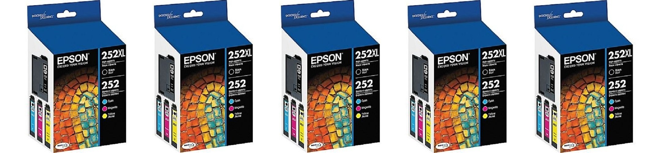 Epson T252XL-BCS Combo jJjRug Pack, Black High Capacity and C/M/Y Standard Capacity Cartridges (5 Units)
