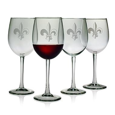 Susquehanna Glass Fleur De Lis Sand Etched Wine Glasses, Set of 4, 16 ounces