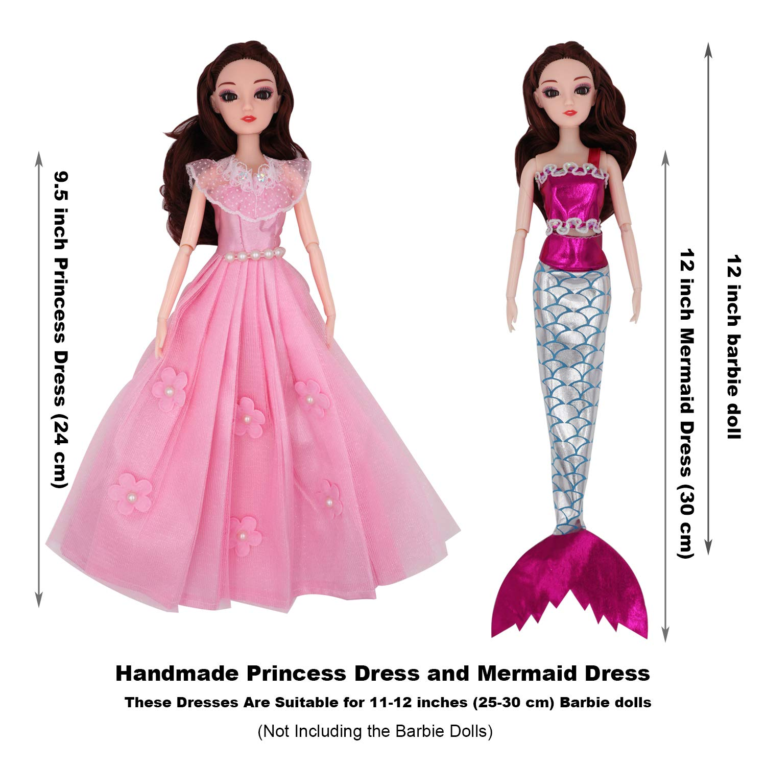 0480920c7b611 EuTengHao 89Pcs Doll Clothes and Accessories for Barbie Dolls Set Include  10 Different Party Grown Outfits for Barbie Doll, 77 Doll Accessories,1 ...