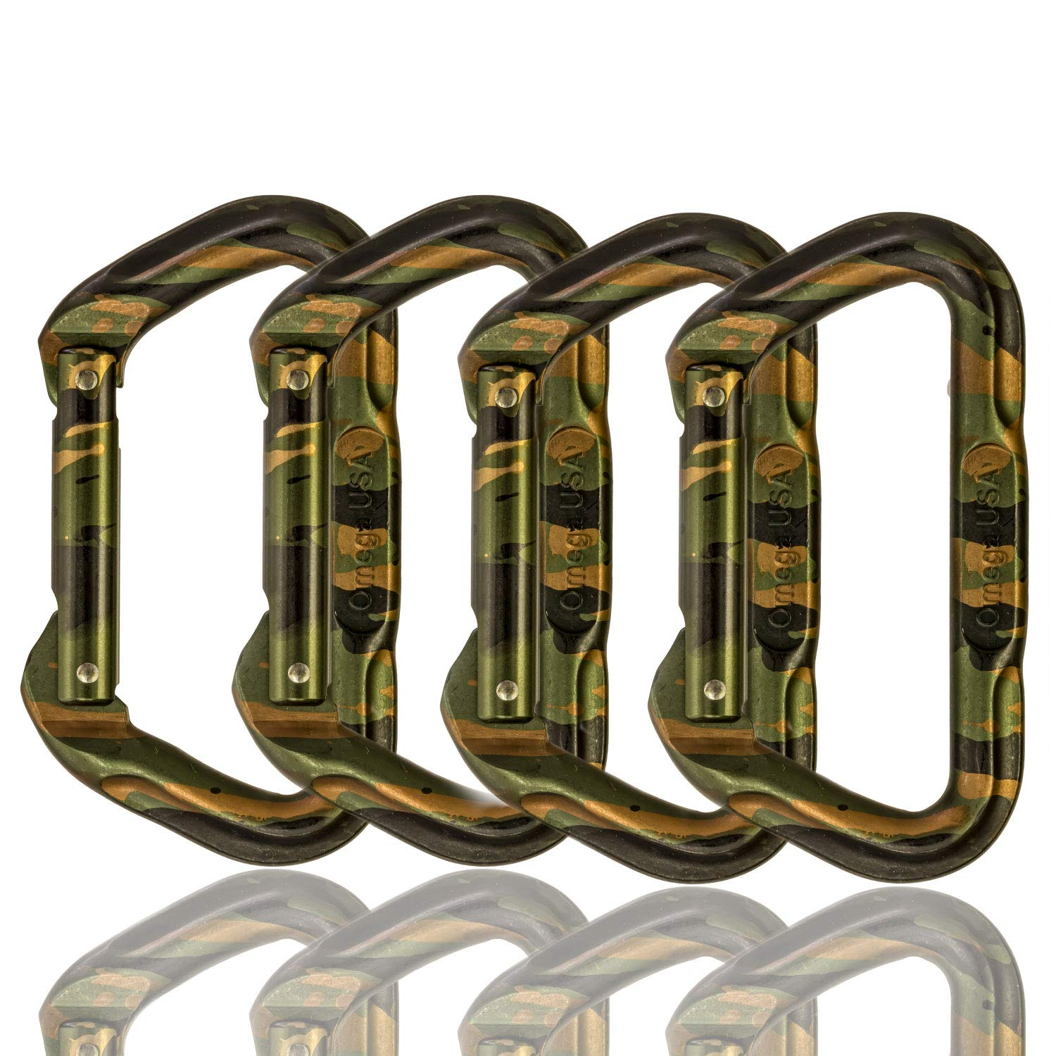 Omega Pacific Non Locking Climbing Carabiner, D, Straight Gate, Camouflage, 4 Pack, Rock Climbing Gear and Equipment, Safety, Rescue, Industrial, and Arborist Uses by Omega Pacific