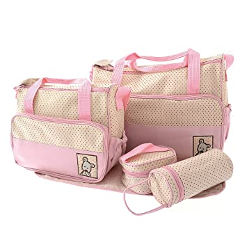 1e418668c7c4 Amazon.com   Toy Mart 5pcs Baby Changing Bag in Pink Cream   Baby Diaper  Changing Kits   Baby