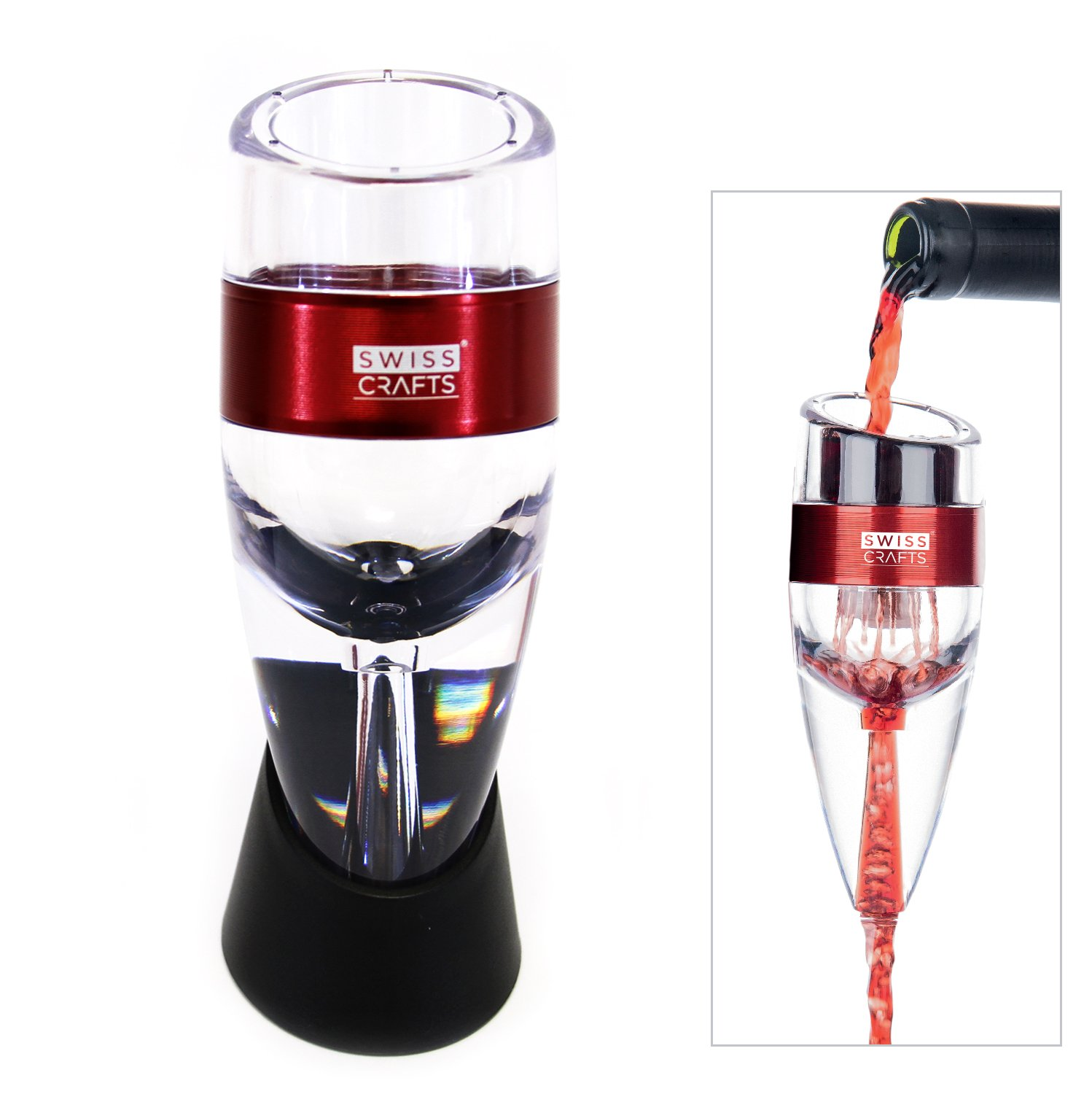 Wine Aerator Decanter with Base for Red Wine For Birthday, Friendship, Wine Gift,Home use And Party (Red)