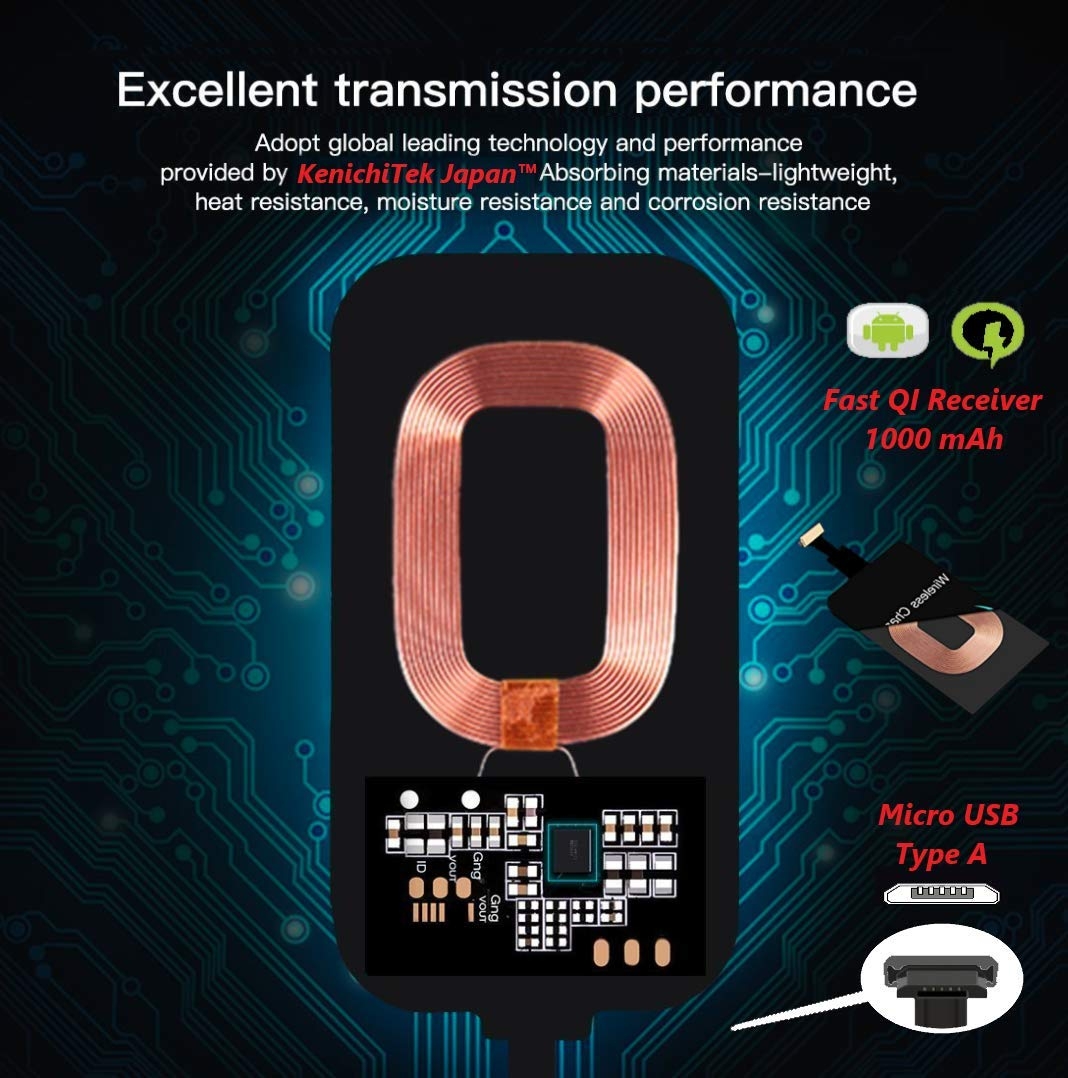 Kenichi Nutratek Wireless Charging Receiver,QI Wireless Charger Receiver  Module with Micro USB, Compatible With All Android mobile