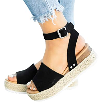 affbb3bb18 Ru Sweet Womens Wedges Sandal Open Toe Ankle Strap Trendy Espadrille Platform  Sandals Flats