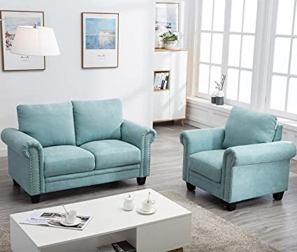 Harper&Bright Designs Living Room Sofa Set Collection Mint Blue  (Chair&Loveseat)