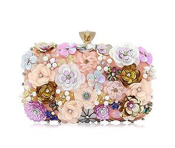 f221825996e Las mujeres embragues bolsa de noche de flores coloridas lentejuelas satén  noche embrague  Amazon.es  Equipaje