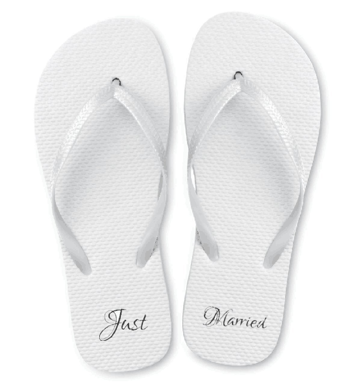 Just Married Wedding Flip Flop Sandals. Perfect for any Beach Wedding or Wedding Favor. Comes in Assorted Sizes of 20 or Individual Sizes. Assorted Case of 20