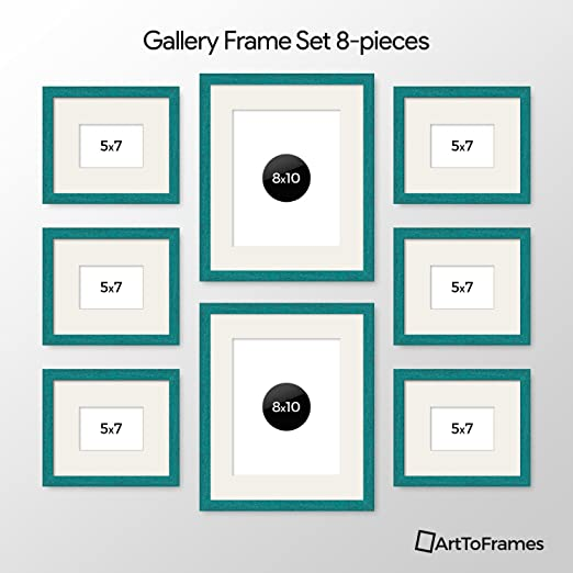 Amazon Com Arttoframes Picture Frame 8 Piece Wall Set 6 7x5 2 10x8 Inch Aqua Frames White Display Mats Home Kitchen